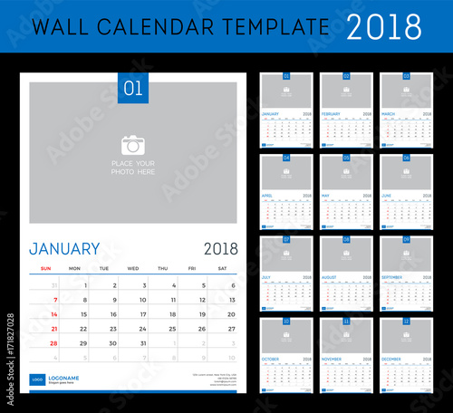 Desk Calendar Template For 2018 Year Set Of 12 Months Buy This