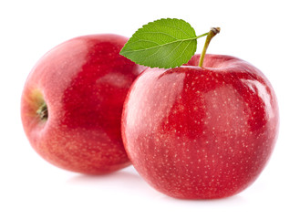 Two apples with leaf