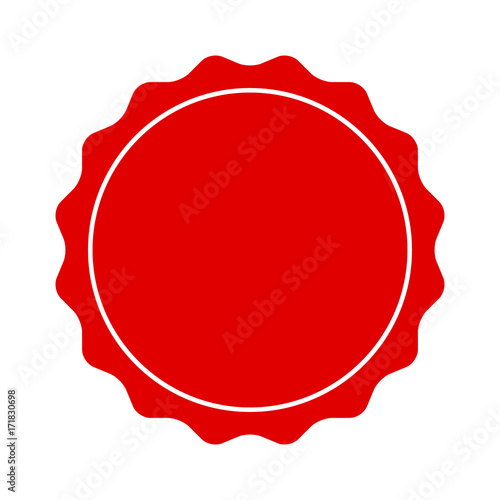 Fotografía  Red smooth edged burst, badge, seal or label with line flat vector icon for apps