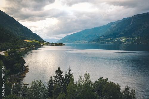 Foto op Aluminium Zee / Oceaan View to fjord and water from drone in Norway