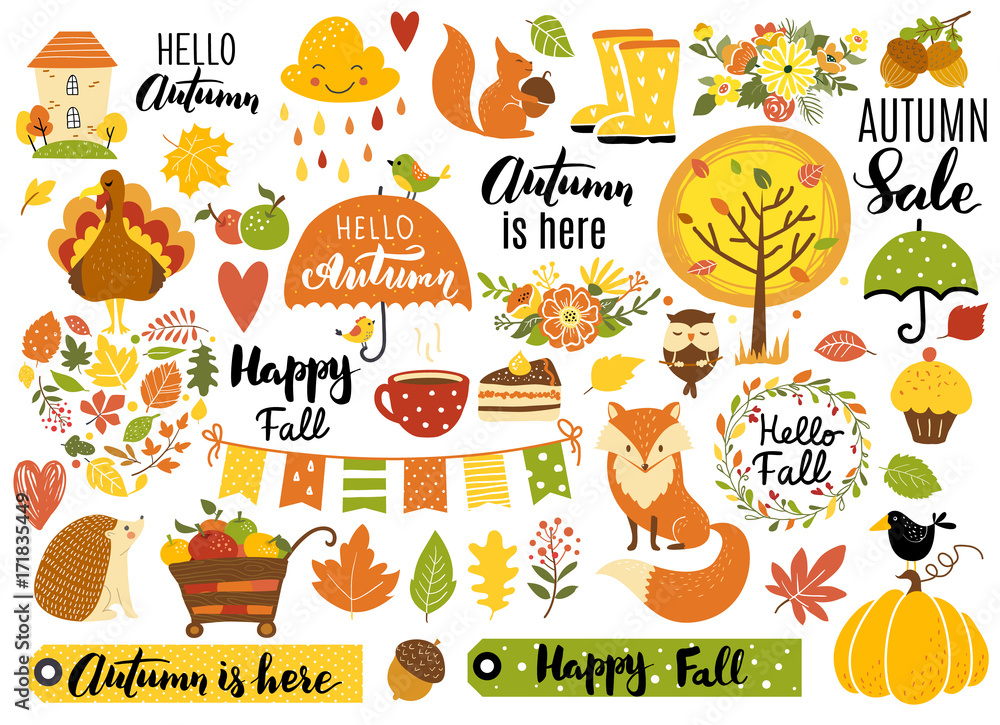 Fototapety, obrazy: Autumn set, hand drawn elements- calligraphy, fall leaves, forest animals, wreaths, and other. Perfect for web, card, poster, cover, tag, invitation, sticker kit. Vector illustration