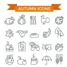 Autumn And Thanksgiving Day Icon Set, Thin Line, Flat Design