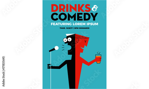 Fotografija  Stand up Comedy Poster with Textbox Template