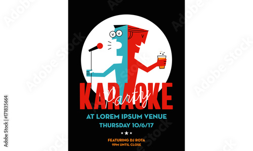 Karaoke Party Invitation Poster Design With Textbox Template
