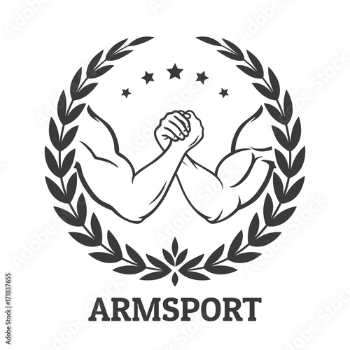 Photo  Arm wrestling logo with two men hands, stars and laurel wreath
