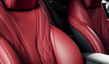 Modern Luxury Race Car Red Leather Interior.