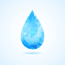 Creative Concept Of Blue Triangle Water Drop.