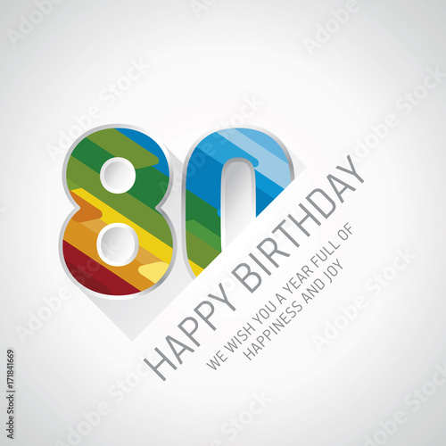 Happy 80th Birthday Color Design Greeting Card Buy This Stock