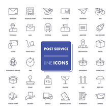 Line Icons Set. Post Service