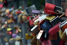 Frankfurt Am Main, Germany - Aug 2, 2017. Thousands Of Couples Showing Their Everlasting Love, By Attaching A Coloured Padlock To The Eiserner Steg Iron Bridge As A Token Of Love.