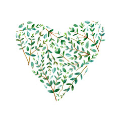 Plakat Frame of heart of a eucalyptus branches. Green floral border. Watercolor hand drawn illustration.White background.