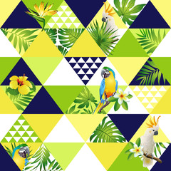 Fototapeta Zwierzęta Exotic beach trendy seamless pattern, patchwork illustrated floral vector tropical banana leaves. Jungle cockatoo, parrot Wallpaper print background mosaic