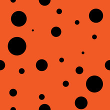 Abstract Seamless Background Design Texture With Circle Round Lady-bird Elements. Creative Vector Endless Pattern With Small Shapes Ladybug Circles.