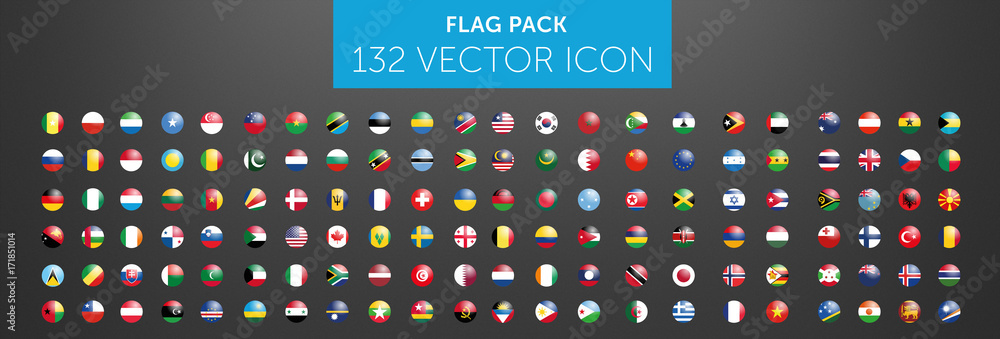 Fototapeta WORLD FLAG vector collection 132 circle icon with reflects