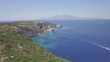 4K (UHD) Aerial view of Agios Nikolaos blue caves in Zakynthos (Zante) island, in Greece - Log