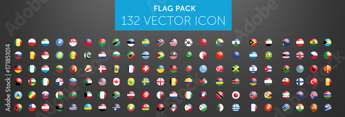 Fototapeta WORLD FLAG vector collection 132 circle icon with reflects obraz