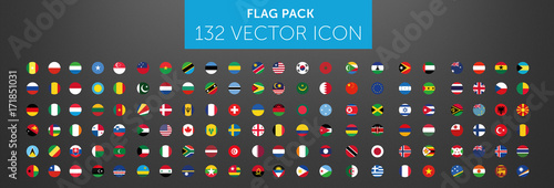WORLD FLAG vector collection 132 circle icon  - fototapety na wymiar