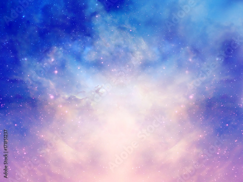 Canvas Print Mystical magic background with stars, galaxy, Universe in pink blue colors
