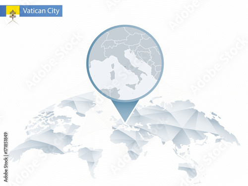 Abstract rounded World Map with pinned detailed Vatican City