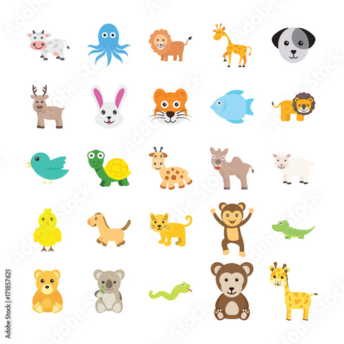 Poster de jardin Zoo Animals Colored Vector Icons 2
