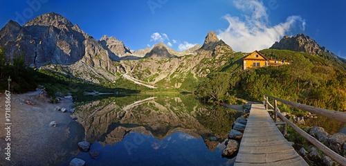 Fototapeta Panorama of Zelene pleso lake valley in Tatra Mountains, Slovakia, Europe obraz