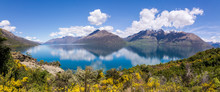 Really Wide Panorama Of Mountains From Queenstown, New Zealand