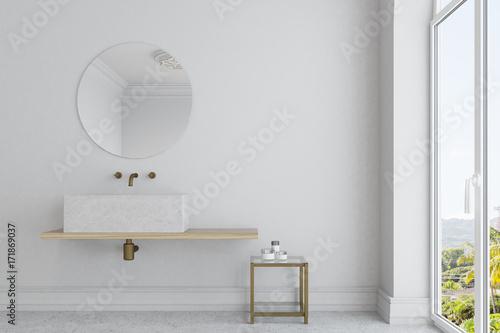 Obraz White bathroom, marble sink and mirror - fototapety do salonu