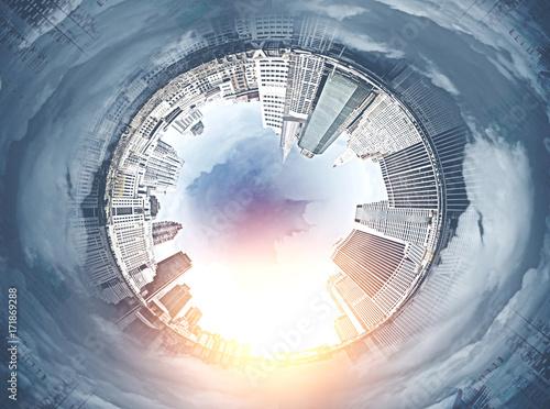 Fotografie, Obraz  Fisheye cityscape panorama