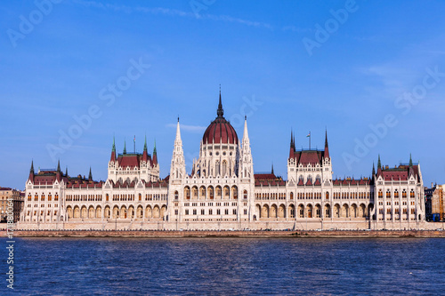 Budapest Parliament at dusk on a clear sky day