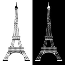 Eiffel Tower On White And Black