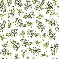 NaklejkaSeamless watercolor floral pattern. The tender leaves. Botanical ornament for textiles, Wallpaper, packaging.