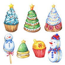 Set Cupcake A Christmas Tree, Ball, Snowman Shape. Christmas Decoration For Greeting Card, Invitation, Paper. New Year. Watercolor Hand Drawn Painting Illustration Isolated On White Background.
