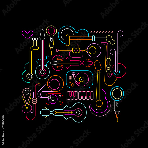 Foto op Canvas Abstractie Art Musical Instruments Neon Design