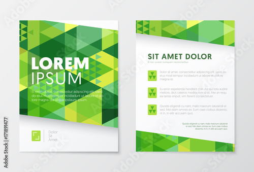 business brochure templates in green color abstract flyer design