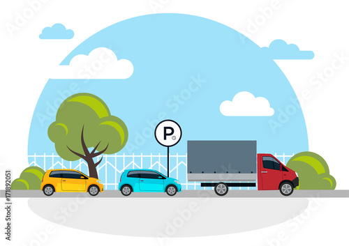 Garden Poster Cartoon cars Parking vector illustration isolated on white, flat parking lot sign near the car parked, cartoon parking place design