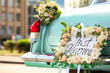 canvas print picture - Beautiful wedding car with plate JUST MARRIED outdoors