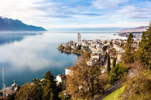 Stampa su Tela Montreux am Genfersee, Schweiz