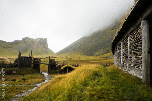 Photo  Traditional viking skyfall village