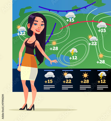 Photo Happy smiling woman weather reporter character