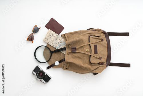 Fotografie, Obraz  Backpack with travel supplies