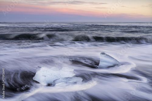 Printed kitchen splashbacks Glaciers sunset at black sandy beach ,Iceland