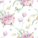 Fototapeta Room - Seamless pattern with pink tulip 1