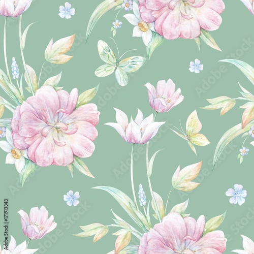 Cotton fabric Seamless pattern with pink tulip 2