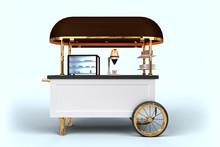 Elegant Coffee Cart 3D Render