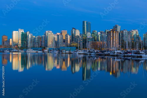 Spoed Foto op Canvas Canada Vancouver BC Canada Waterfonrt Skyline at Blue Hour