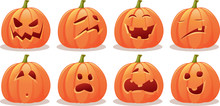 Funny Expressive Halloween Pumpkin Vector Set