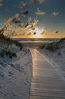 Path to Baltic sea in sunset time, Liepaja, Latvia.