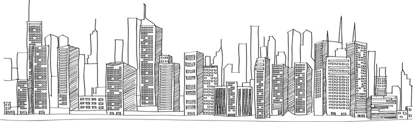 Panel Szklany Cityscape Vector Illustration Line Sketched Up, EPS 10.