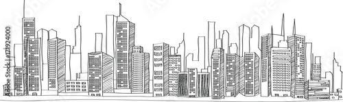 Fotografia  Cityscape Vector Illustration Line Sketched Up, EPS 10.