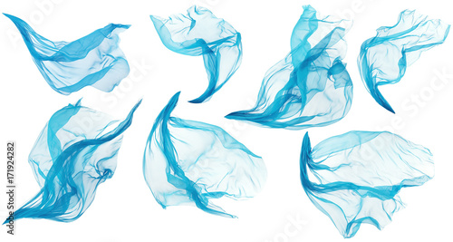 Foto op Aluminium Stof Fabric Cloth Flowing Flying, Cyan Silk Set of Textile Pieces over White